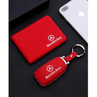 Chrom-Texstil Schlüsseletui Hülle und Brieftaschen Mercedes-Benz Rot