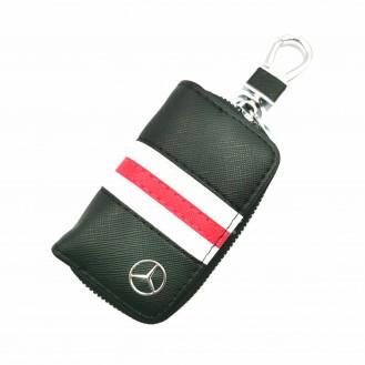 Auto Schlüssel Hülle Etui Echt Leder Tasche für Mercedes