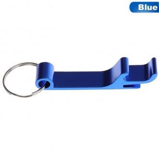 Schlüsselanhänger Bierflasche Dosenöffner Getränk Schlüsselbund Ring Klaue Blau  (Auf Wunsch mit Gravur)