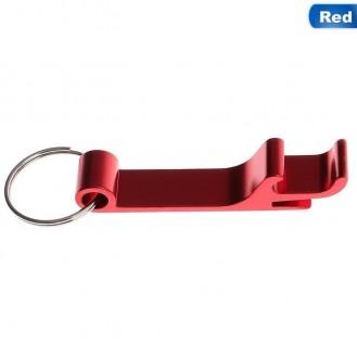 Schlüsselanhänger Bierflasche Dosenöffner Getränk Schlüsselbund Ring Klaue Rot (Auf Wunsch mit Gravur)