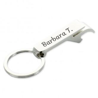 Schlüsselanhänger Bierflasche Dosenöffner Getränk Schlüsselbund Ring Klaue Silber (Auf Wunsch mit Gravur)
