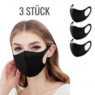 Sehr leichte Gesichtsmaske Mundschutz Elastisch Neoprenstoff Schwarz