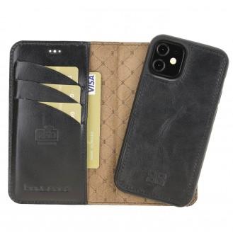 Bouletta Magnetische abnehmbare Brieftasche aus Leder mit RFID-Blocker für iPhone 12 Mini Rustic Black