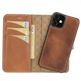 Bouletta Magnetische abnehmbare Handyhülle aus Leder mit RFID-Blocker für iPhone 12 Mini Rustic Tan with Efekt