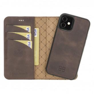 Bouletta Magnetische abnehmbare Handyhülle aus Leder mit RFID-Blocker für iPhone 12 Mini Tiguan Brown