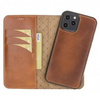 Bouletta Magnetische abnehmbare Handyhülle aus Leder mit RFID-Blocker für iPhone 12 Pro Max Rustic Tan with Efekt