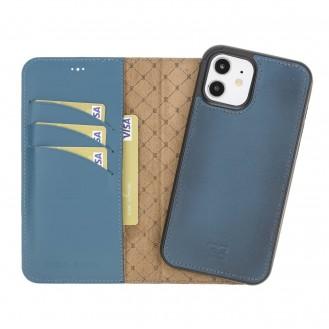 Bouletta Magnetische abnehmbare Handyhülle aus Leder mit RFID-Blocker für iPhone 12 Pro BRN Burnt Blue