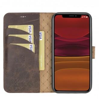 Bouletta Magnetische abnehmbare Handyhülle aus Leder mit RFID-Blocker für iPhone 12 Pro Tiguan Brown