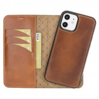 Bouletta Magnetische abnehmbare Handyhülle aus Leder mit RFID-Blocker für iPhone 12 Pro Rustic Tan With Effect