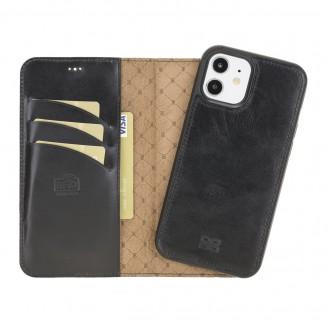 Bouletta Magnetische abnehmbare Handyhülle aus Leder mit RFID-Blocker für iPhone 12 Pro Rustic Black