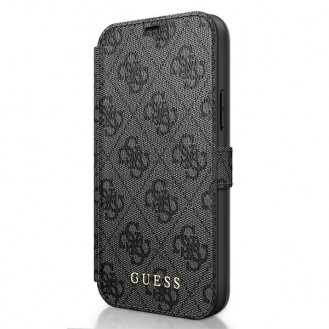 Guess 4G Charms iPhone 12 - Cover Hülle Tasche Handytasche Case Grau