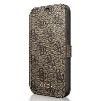 Guess 4G Charms iPhone 12 Pro - Cover Hülle Tasche Handytasche Case Braun