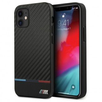 BMW M-Collection Stripe iPhone 12 - Carbon Hard Cover Hülle - Schwarz