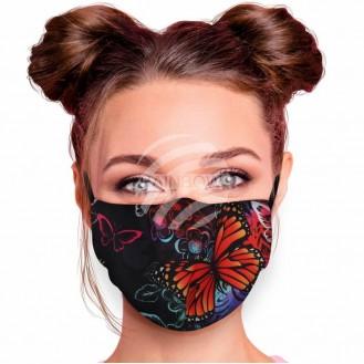 Verstellbare Waschbare Motivmasken Schwarz Schmetterlinge