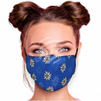 Verstellbare Waschbare Motivmasken Blau Edelweiss