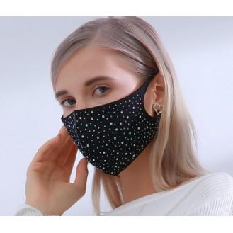 Mundschutz Maske Gesichtsmaske Damen Strass Schwarz