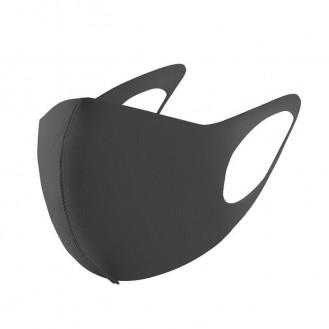 3 Stück Sehr leichte Gesichtsmaske Mund-Nasen Maske Elastisch Neoprenstoff Schwarz