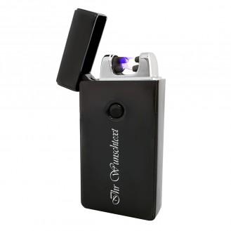 Schwarzes Plasma-Feuerzeug + USB-Kabel 2 Biegungen  (Auf Wunsch mit Gravur) (Auf Wunsch mit Gravur)