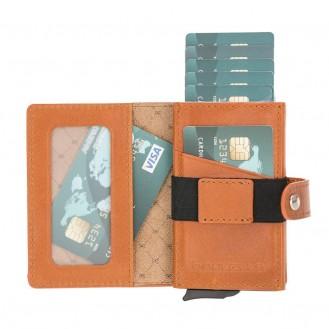 Bouletta Terry Coin Kartenhalter aus Leder RST2EF Taba RFID