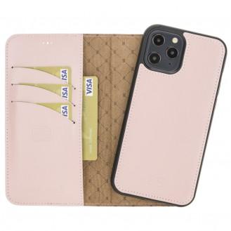 Bouletta Magnetische abnehmbare Handyhülle aus Leder mit RFID-Blocker für iPhone 12 Pro Max Pink
