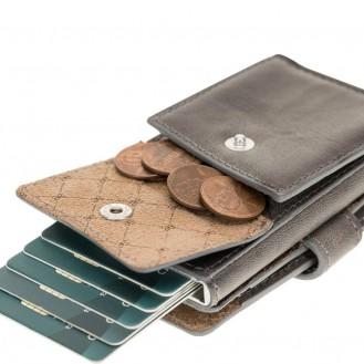 Bouletta Terry Coin Kartenhalter aus Leder TN18EF Grau RFID