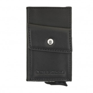 Bouletta Austin Coin Kartenhalter aus Leder Schwarz RFID