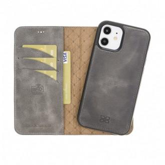 Bouletta Magnetische abnehmbare Handyhülle aus Leder mit RFID-Blocker für iPhone 12 Pro Grau