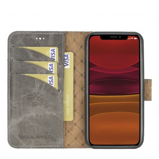 Bouletta Magnetische abnehmbare Handyhülle aus Leder mit RFID-Blocker für iPhone 12 Mini Nude Pink
