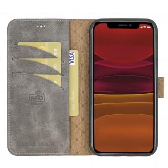 Bouletta Magnetische abnehmbare Handyhülle aus Leder mit RFID-Blocker für iPhone 12 Pro Max Grau