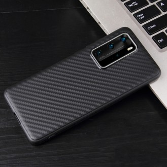 Huawei P40 Pro Carbon Fiber Texture Shockproof TPU Protective Case Schwarz