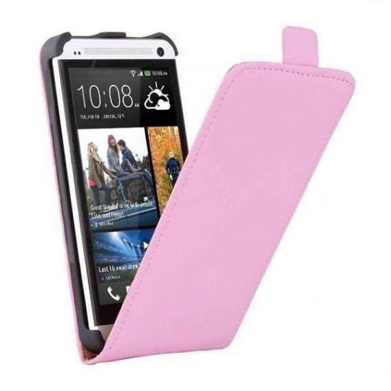 Rosa Flip Leder Etui Tasche HTC One M7