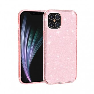 iPhone 12 Pro Shockproof Terminator Style Glitter Powder Protective Case Hülle Pink