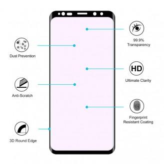 9H 3D a Heat Bending Tempered Glass Film für Galaxy S9 Plus Schwarz