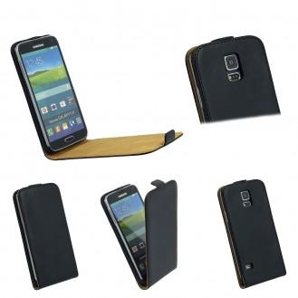 Schwarz Flip Leder Etui Tasche Samsung Galaxy S5
