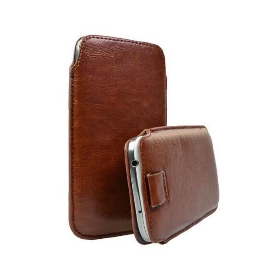 Pull Tab Leder Etui Tasche Samsung Galaxy S5 Braun