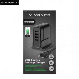 Vivanco - 40W Quattro Universal Netzladegerät (4 x USB / 8A) mit Smart IC - Schwarz