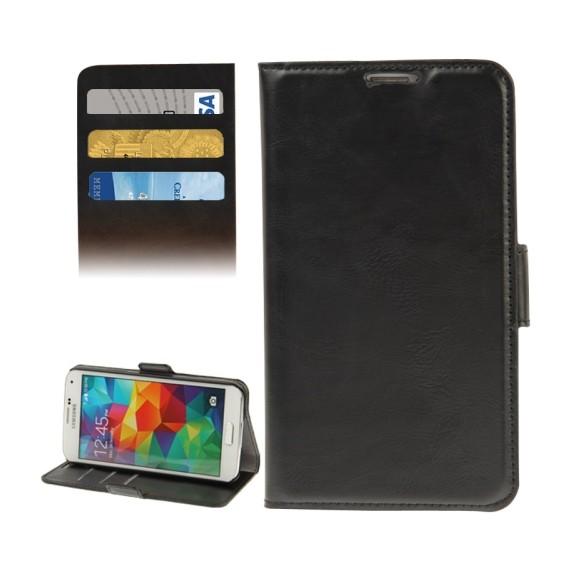 Leder Kreditkarte Etui Tasche Samsung Galaxy S5 Schwarz