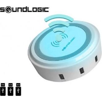 Ladegerät kabellos unter anderem für Samsung, Iphone, HTC - inkl. 3 USB-Anschlüsse - 2 in 1