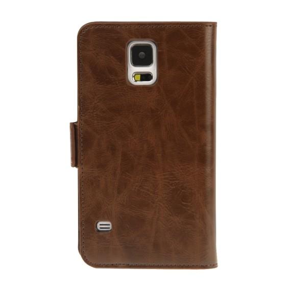 Leder Kreditkarte Etui Tasche Samsung Galaxy S5 Braun