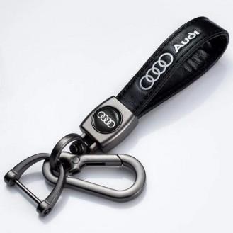 Leder Schlüsselanhänger für Audi (Schwarz)