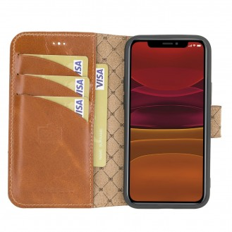 Wallet Folio Case ID Slot mit RFID für iPhone 12 mini Rustic Tan with Effect