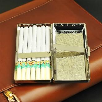 Feines Zigarettenetui Doppelseitig 14 Stäbchen Tragbare Metallverlängerung Zigarettenetui (Silber)