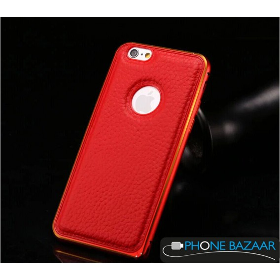 Aluminium Bumper Case Leder Back Cover iPhone 6 Rot