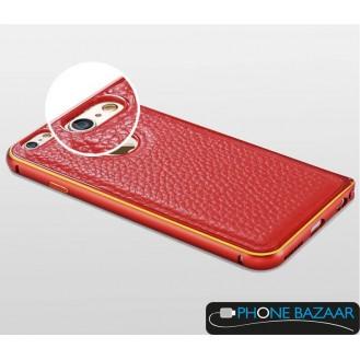 Aluminium Bumper Case Leder Back Cover iPhone 6 Rot