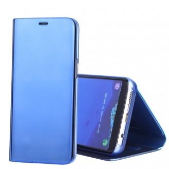 Electroplating Spiegel Horizontal Flip Leder Case mit Holder Blau