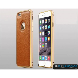 Aluminium Bumper Case Leder Back Cover iPhone 6 Gold
