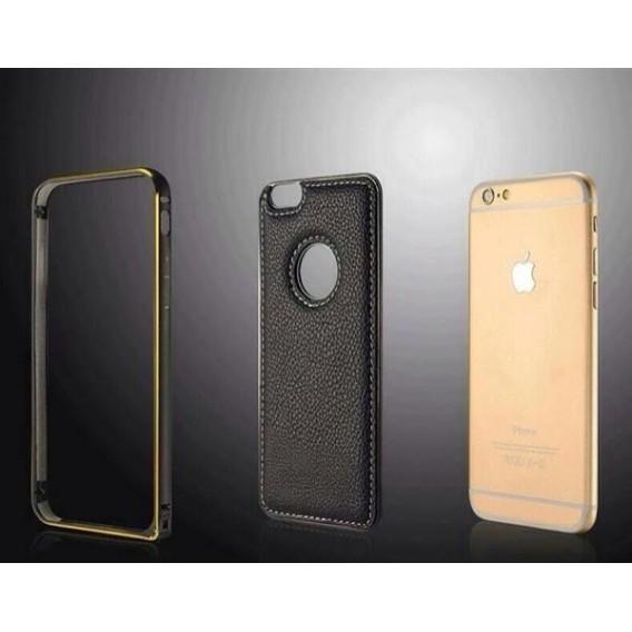 Aluminium Bumper Case Leder Back Cover iPhone 6 Gold