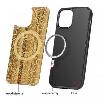Holzfurnier Mandala Geprägte Magsafe-Hülle Magnetische TPU-Schockschutzhülle Für iPhone 12 Pro Max (Bambus)