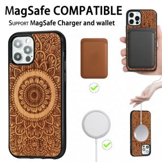 Holzfurnier Mandala Geprägte Magsafe-Hülle Magnetische TPU-Schockschutzhülle Für iPhone 12 Pro Max (Kirschbaumholz)