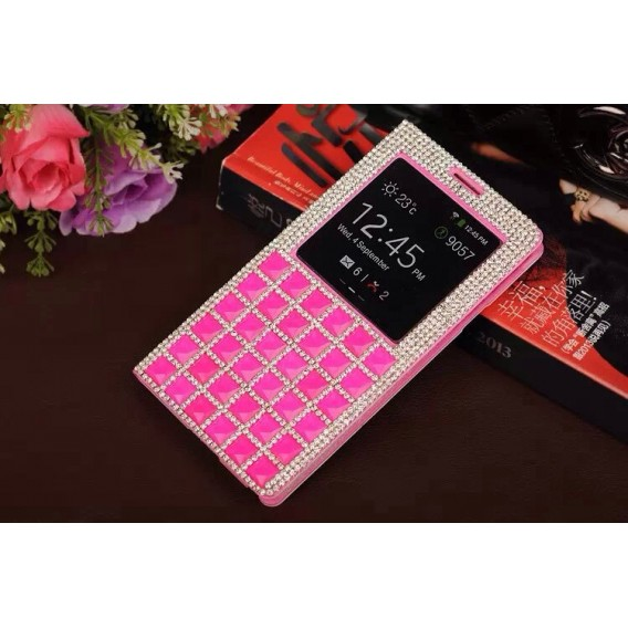 S-View Bling Strass Case Galaxy Note 4 Pink